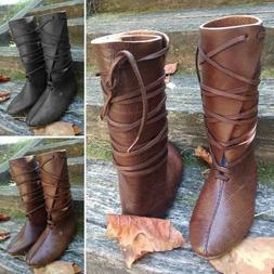 Men Fashion Viking Boots Vintage Lace Up Boots Men Non-slip