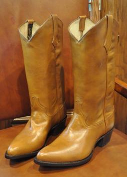 Men's Brand New Brown Leather Cowboy Boots 7 1/2EE Made in t