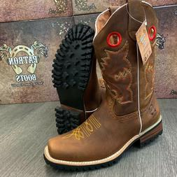 MEN'S BROWN WORK BOOTS WESTERN COWBOY SQUARE TOE CRAZY LEATH