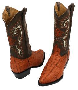 Men's Genuine Crocodile Print Cowhide Leather Western Cowboy
