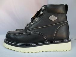 Men's Harley Davidson Black Leather Work Boot with Side Zipp