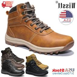 Men's Leather Work Boots Outdoor Waterproof Casual Martin Bo
