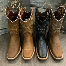 MEN'S RODEO COWBOY BOOTS GENUINE LEATHER FULL RUBBER SQUARE
