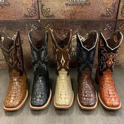 MEN'S RODEO COWBOY ALLIGATOR NECK BOOTS GENUINE LEATHER WEST