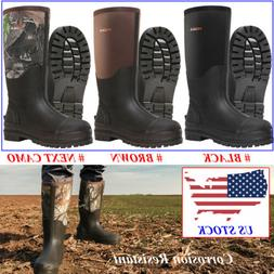 HISEA Men's Rubber Hunting Boots 100% Waterproof Breathable
