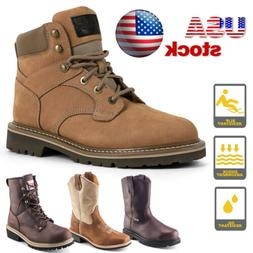 Mens Work Boots Safety Shoes Steel Toe Cap Lace up Non-Slip