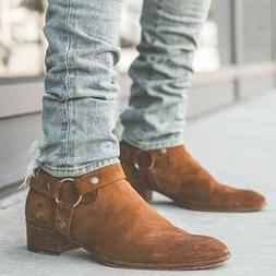 Men's Slim Casual Boots Round Toe Ankle Boots Casual Buckle