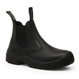 Men's Slip On Work Boots Lightweight Leather Waterproof Indu