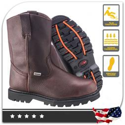 Men's Steel Toe Work Boots Pull On Safety Genuine Leather Oi