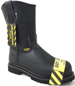 MEN'S STEEL TOE WORK BOOTS PULL ON SAFETY BLACK LEATHER OIL