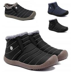 Men's Winter Warm Ankle Boots Snow Booties Fur Lining Slip O