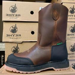 MEN'S WORK BOOTS GENUINE LEATHER BROWN OIL RESISTANT WITH RU