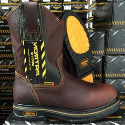 MEN'S WORK BOOTS GENUINE LEATHER BROWN COLOR OIL RESISTANT C