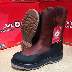 MEN'S WORK BOOTS GENUINE LEATHER BROWN COLOR COWBOY PULL ON