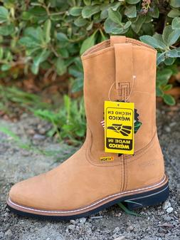 MEN'S WORK BOOTS GENUINE NUBUCK LEATHER PULL ON TAN COLOR SA