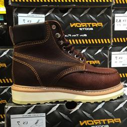 MEN'S WORK BOOTS MOC TOE GENUINE LEATHER LACE UP SAFETY BROW