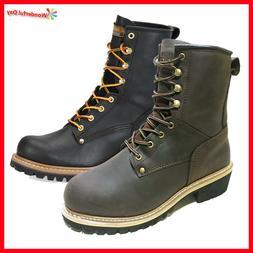 LM Men's Work Boots Rugged Pioneer Logger Boot Steel Toe Goo