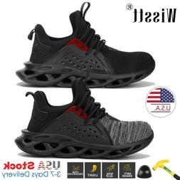 Men Work Boots Steel Toe Midsole Safety Shoes Mesh Sneakers
