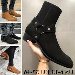 Mens Autumn Casual Boots Suede Chelsea Boots Round Toe Ankle