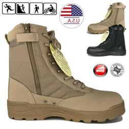 Mens Black Desert Tan Military Tactical Work Boots with Zipp