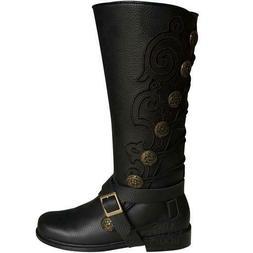 Mens Aris Archer Black Embroidery Leather Knee Boots -Renais