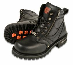 """Mens Black Leather Motorcycle Boots, 6"""" Tall, Side Zipper, P"""