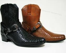 Men's Cowboy Boots Western Snake Skin Print Zippper Buckle