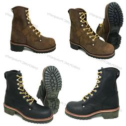 """Mens Logger Boots Leather 10"""" Good Year Welt Rugged Work Mot"""
