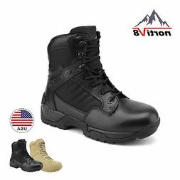 NORTIV 8 Mens Military Tactical Work Boots Side Zipper Ankle