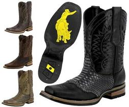 Mens Python Print Rodeo Cowboy Boots Genuine Leather Western