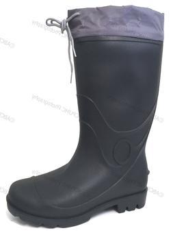 Mens Rain Boots Waterproof Drawstring Black Slip-Resistant S