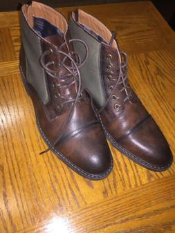 Steve Madden Mens Trentin  Leather Ankle Boots Size 10 Green