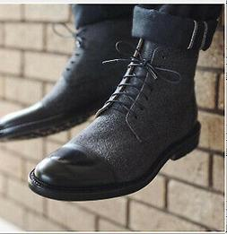 Mens Vintage Ankle Boots Motorcycle Color Matching Lace Up C