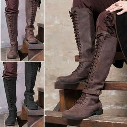 Mens Vintage Knight Knee High Lace Up Boots Steampunk Tall C