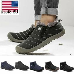 Mens Waterproof Ankle Boots Thick Fur Lined High Top Shoes S