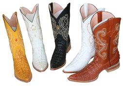MENS WESTERN COWBOY  LEATHER CROCODILE  PRINT   BOOTS SNIP T