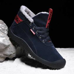 Mens Winter Ankle Ski Shoes Snow Boots With Velvet High Top