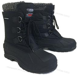 "Mens Winter Boots Waterproof Nylon 9"" Black Insulated Hiking"