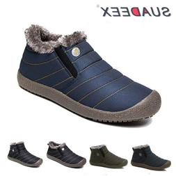 Mens Winter Snow Ankle Boots Slippers Fur Lined Outdoor Wate