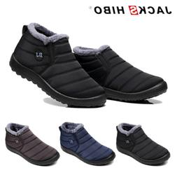 Mens Winter Snow Boots Waterproof Plush Lining Ankle Thicken