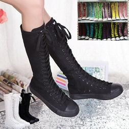 New Girls' Women's Knee high Canvas Boots Lace up Shoes fash
