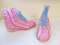 NEW Women's Bongo Mardo Vinyl Lace Up Combat Boots Plaid Pri