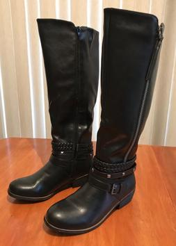 New Women's SO® Olive Strappy Braided Studded Riding Boots