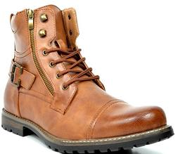 Bruno Marc Men's Philly-3 Brown Military Combat Boots - 7.5