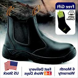 Safety Work Boots Mens Shoes Steel Toe Black Leather Water R