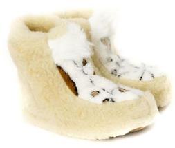 Sheepskin Sheep Wool Warm Women's Men Slippers Boots Cozy Fo