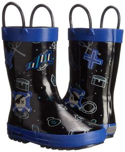 Kamik Shipwreck Rain Boots Boys Black Blue 12 13 1 2 3