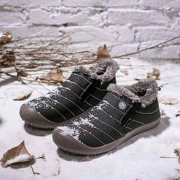 Snow Boots Mens Warm Ankle Shoes Waterproof Flats Outdoor Wo
