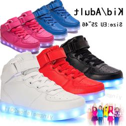 Unisex LED Light Up Casual Shoes Luminous Boots For Kid Adul
