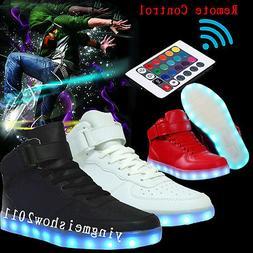 Unisex LED Light Up Laces Casual Shoes Woman Man Control Rem